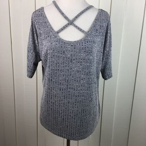 Shein Plunging Criss Cross Knit Top Gray Marled